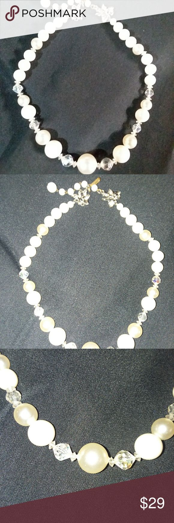 1950s vintage Pearl and Aurora Borealis crystal ne A glimmers in the sunshine and dresses even a pair of jeans to the max. Aurora Borealis Crystal silver and lab created pearls Delroy Jewelry Necklaces