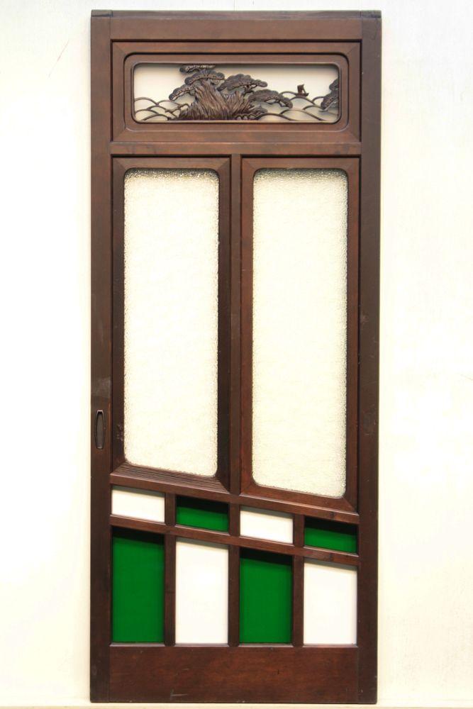 斜めのラインとグリーンの色ガラスが鮮やかなガラス窓 F4789 在庫1枚