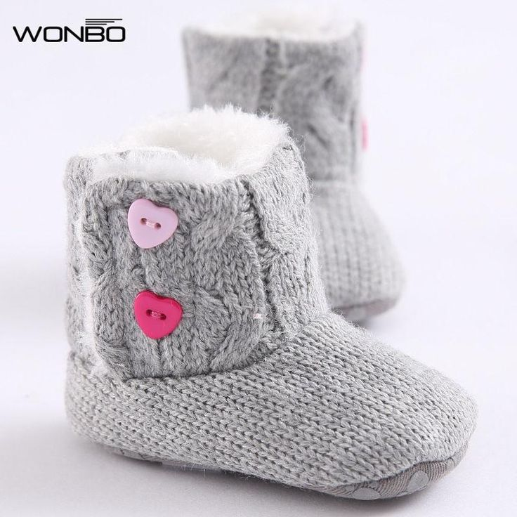 Baby Shoes Cotton Knit Soft Winter Warm Snow Boots Heart Button