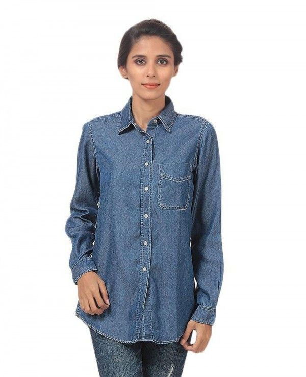 95c3e3a6c3d72 Women Dark Blue Silky Tencel Denim Button Down Shirt With White Snap  Buttons | Women Denim Shirts | Denim button down, Denim Shirt, Button downs
