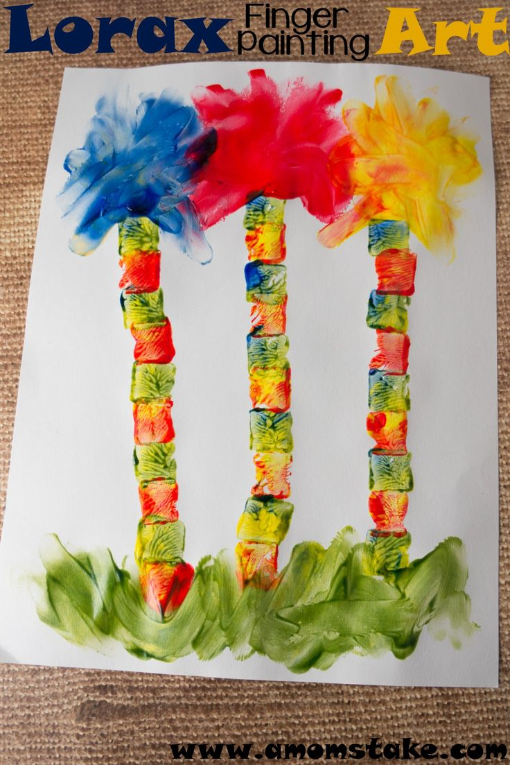 Lorax Finger Painting Art #DrSeuss