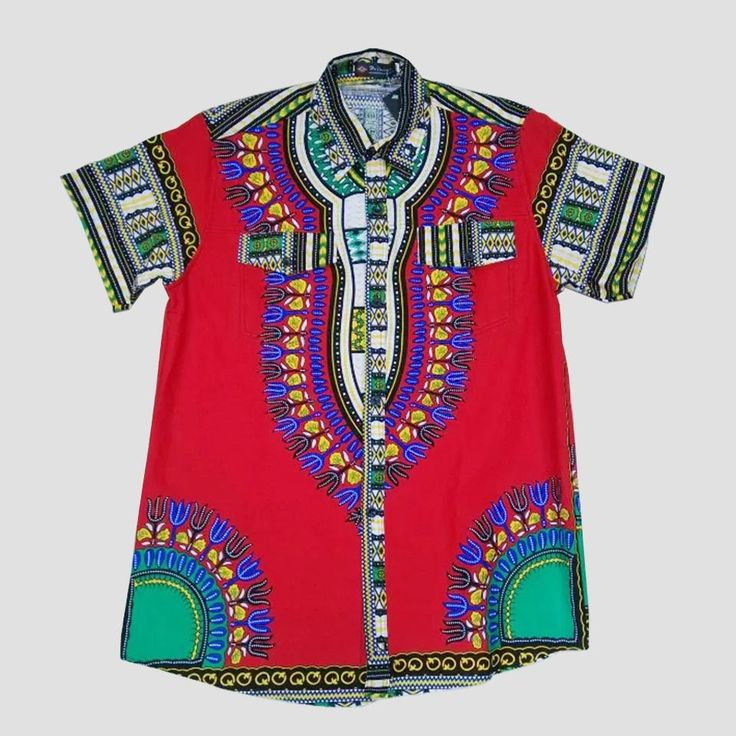 Hot Sale African TrMen's African Dashiki Shirt, Red Batik Shirt African Men…