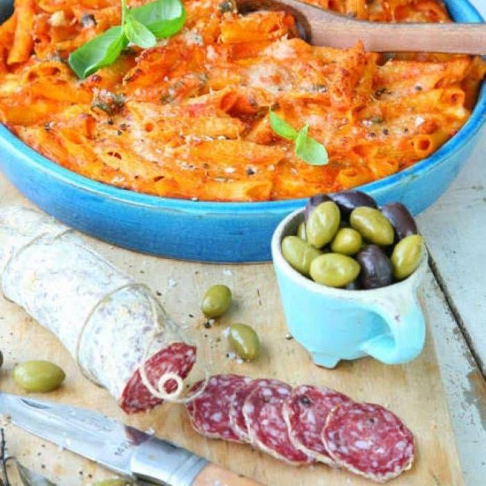 Ugnsbakad pasta med tomat och mozzarella