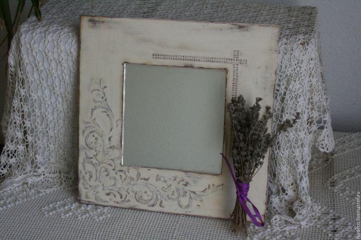 "Купить Зеркало ""Прованс"" - белый, потертости, шебби шик, зеркало декупаж, зеркало настенное, прованс"