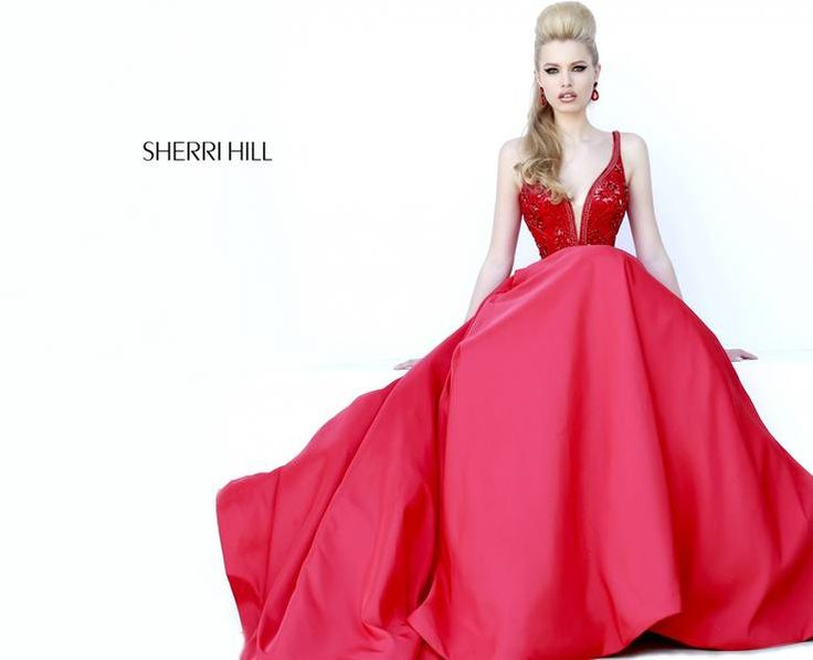 Embezzled Knee Length Red Dress Neck Line
