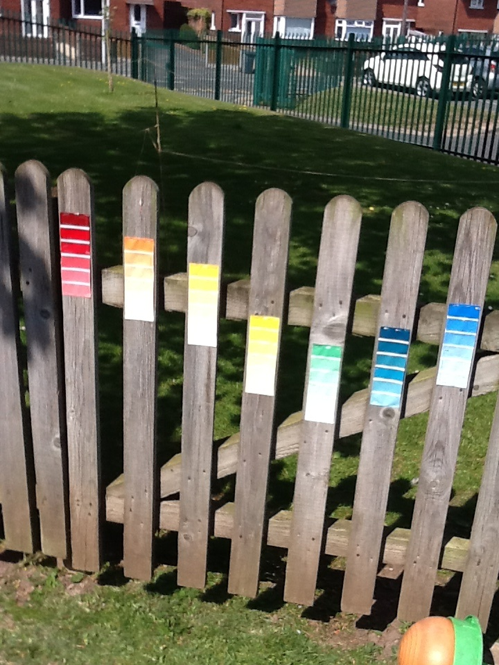 Paint swatches; the children have to find a leaf or a flower and match it up to the exact shade.