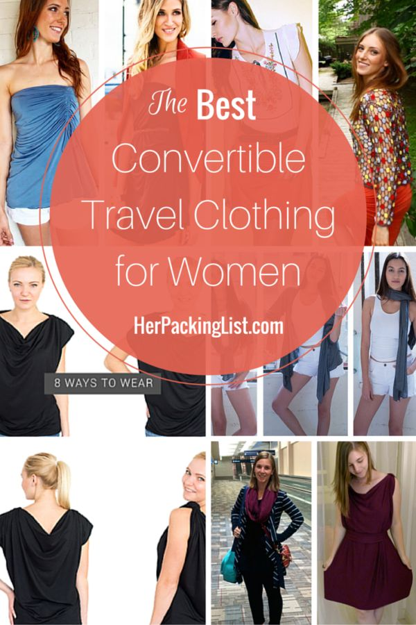 We searched out the best convertible travel clothing for women so you can pack less and do more with a tiny travel wardrobe. Check out everything from multi-wear dresses to convertible travel pants.