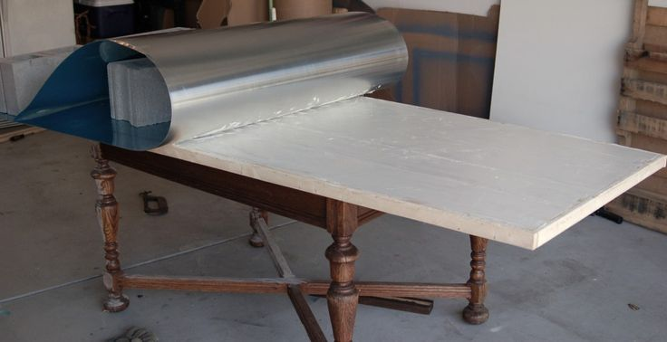 DIY Zinc Table Top • Unexpected Elegance - might work with a rustic bench below as a kitchen Island - really durable and easy to keep clean