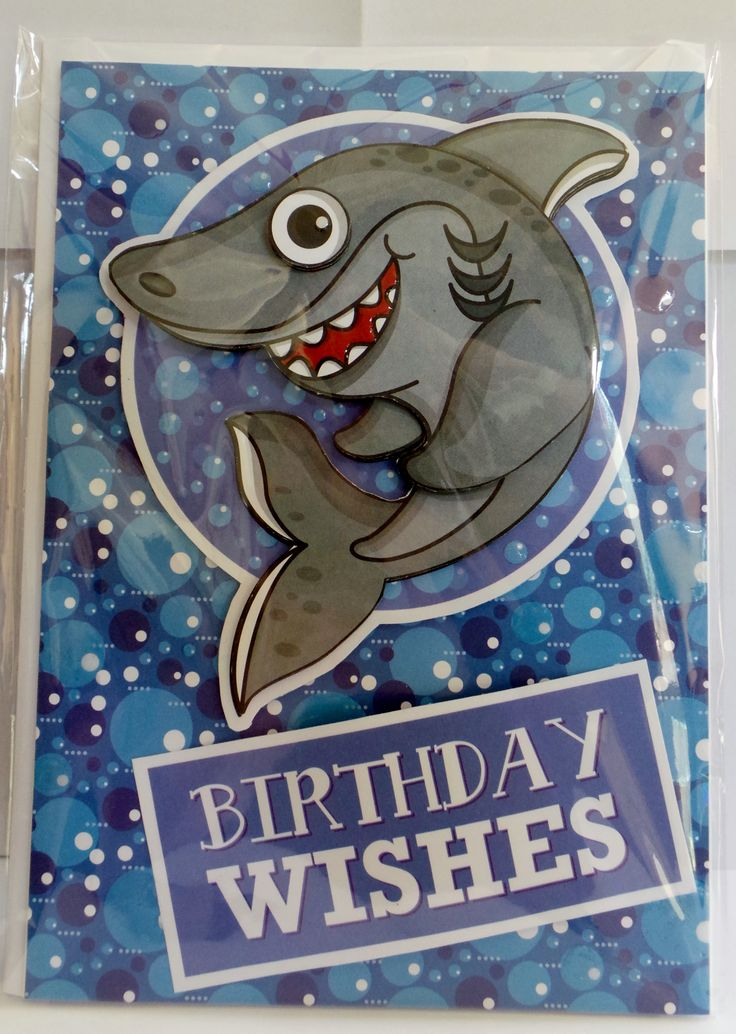 A5 3D shark with glossy eye, mouth and bubbles and hand made envelope
