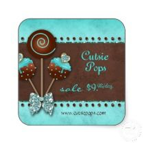 Cake Pops Stickers Bakery Sparkle Blue Brown Candy stickers