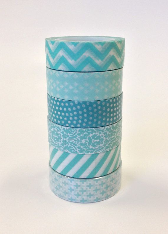 Washi Tape Set  15mm  Crazy for Aqua  Six Rolls by InTheClear, $16.90