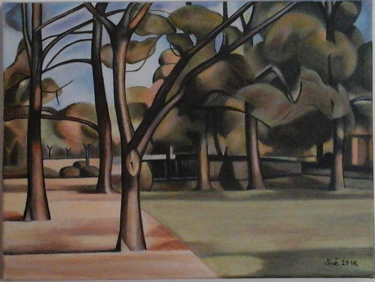 created by: Kovácsné Sz. Éva - landscape, oil, 30x40 cm canvas (Original painting by Kmetty János - Városliget) Innen pinelve: Uploaded by user