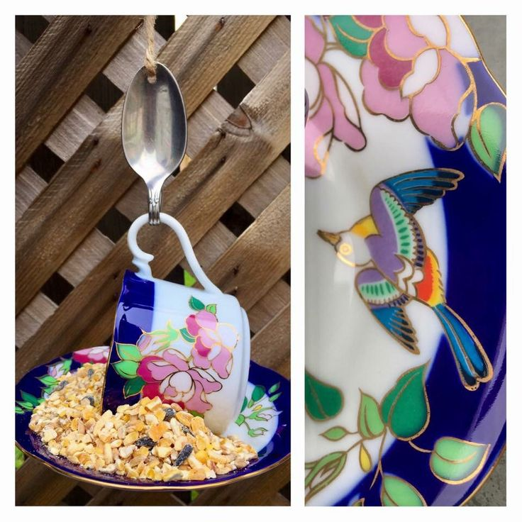 The birds on this saucer could not be more perfect for a teacup bird feeder! I can't wait for someone to have this in their garden this season!