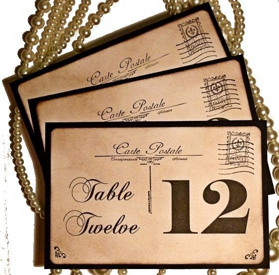 Postcard Wedding Table Numbers Carte Postale Vintage by amaretto