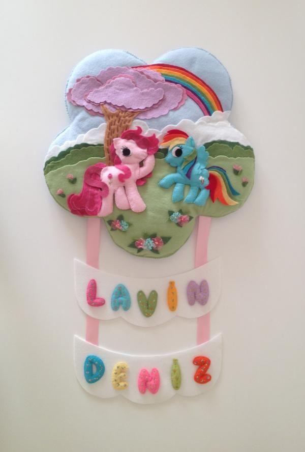 Pembe-Mavi Pony Çocuk Odası Kapı Süsü
