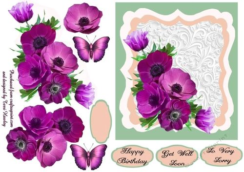 so very sorry step by step 3D decoupage card is so pretty with it's anemones and optional butterflies,   It has 4 labels, a blank for your own use and then So Very sorry, Happy Birthday and Get well Soon, but it can be used for many other reasons, and is very easy to make, enjoy.