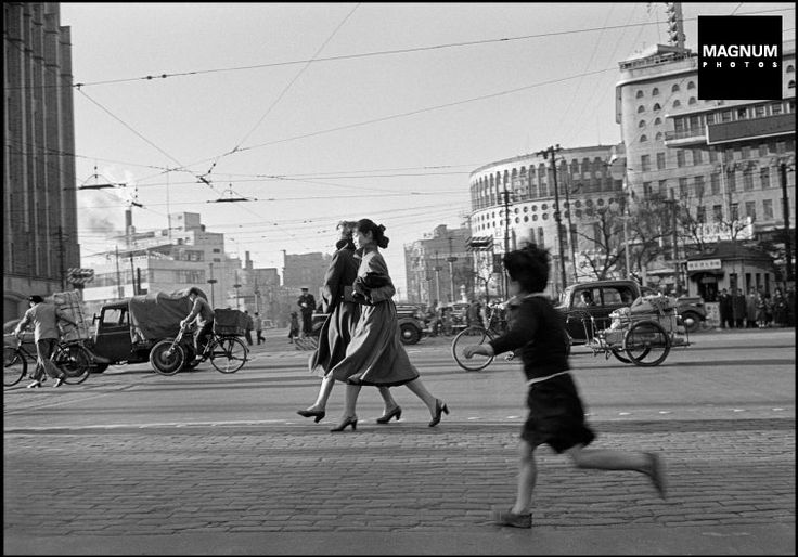 Ginza district. 20 year old Michiko JINUMA (center), a fashion student, Tokyo Japan 1951 by Werner Bischof