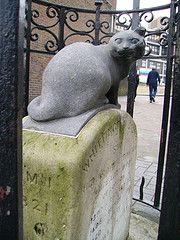 Dicks Cat-The rags to riches story of Dick Whittington and his cat is not just a fairy tale: it is part of the folklore of London. Today there is a monument to his cat near the Whittington Stone pub at the foot of Highgate Hill where Dick sat down and heard the famous Bow Bells of East London ring out: Turn Again Whittington! Thrice Lord Mayor of London! This was right near my auntie's house so I passed it quite often when I stayed with her.