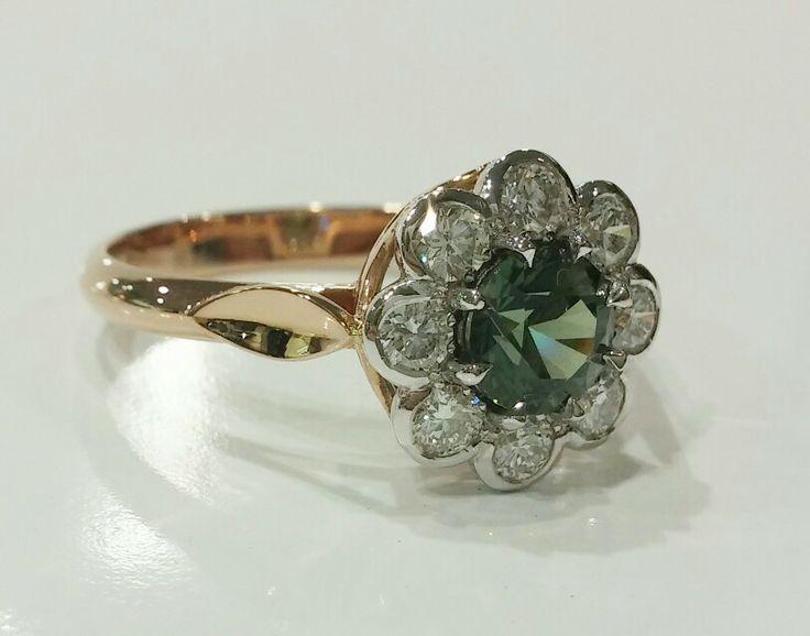 #greensapphire #diamonds #rosegold #ring