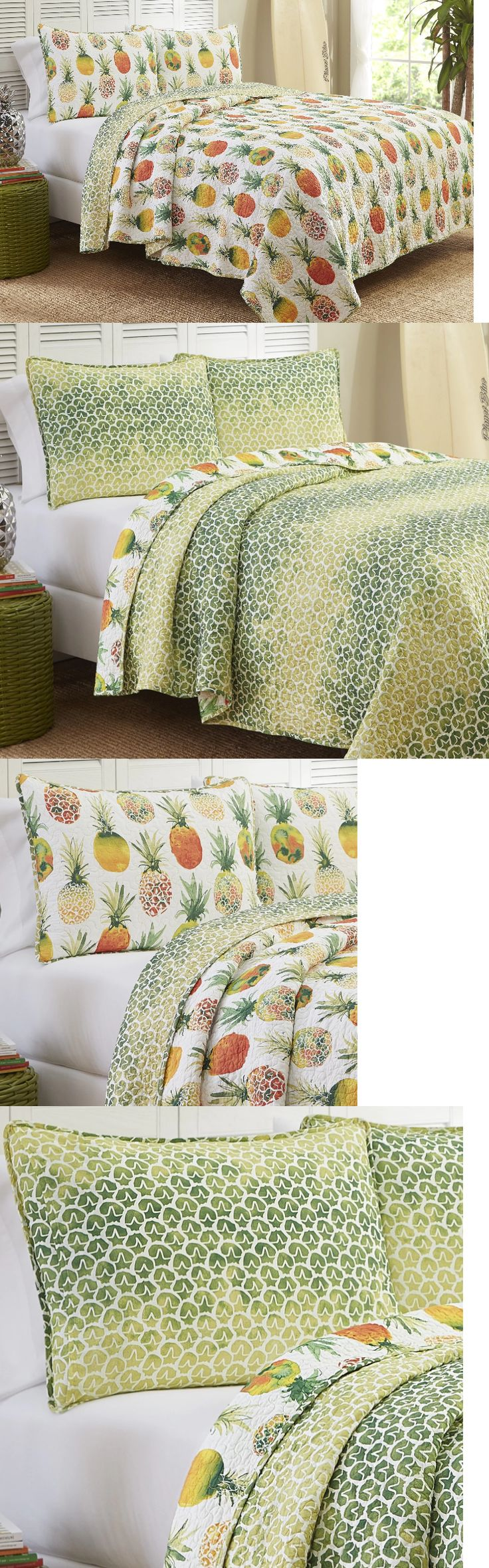 Quilts 66730: Tropical Hawaiian Pineapple 3-Pc Reversible Quilt Set King Cotton Bedding -> BUY IT NOW ONLY: $114.31 on eBay!