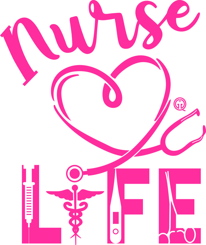 Nurse Life SVG Instant Download Design, Cute Nursing Stethoscope Heart Heartbeat Cut Files, Cameo Silhouette, Dxf Vector Png Svg File