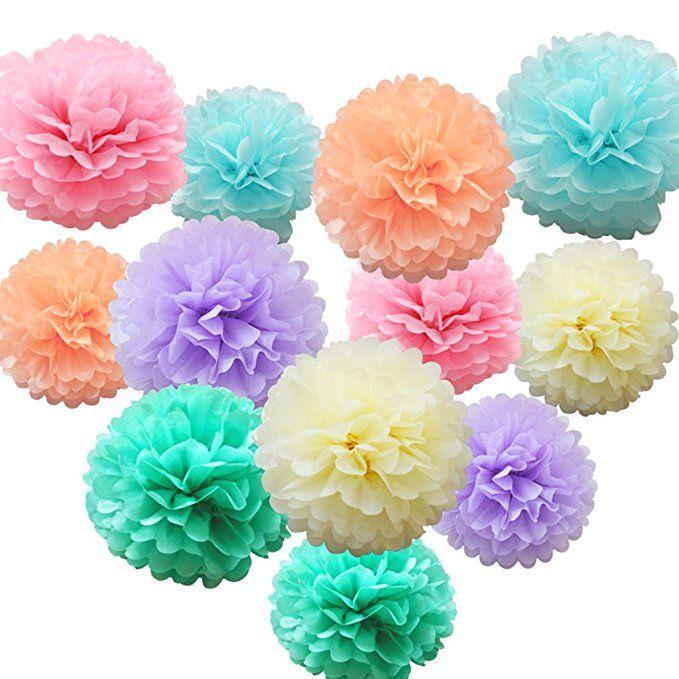 Mybbshower Pastel Tissue Paper Flower Baby Shower Centerpiece Living Room Wall Decor Pack of 10