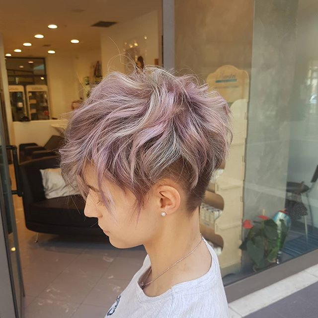 Short choppy pixie with undercut and beautiful pastel color