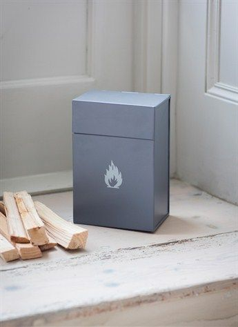 Garden Trading Firelighter Box in Charcoal Dimensions: H20 x W14 x D9cm  Crafted in Powder Coated Steel