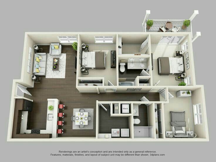 40 Amazing 3 Bedroom 3d Floor Plans Engineering Discoveries In 2020 With Images Three Bedroom House Plan Apartment Layout House Plans