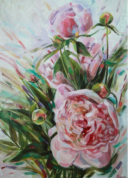 PEONY 0,8X1,1 oil/canvas/sold