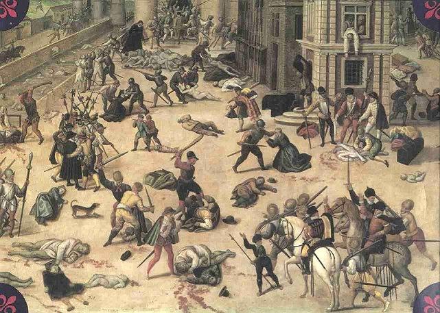 Daar was wedersydse geweld en aanvalle tussen die hugenote en die katolieke in Frankryk.In 1572 is duisende hugenote tydens die St Bartholomeusnagslagting vermoor.Lodewyk XIV het die vervolging van die protestante hervat.Reeds voor die grootskaalse emigrasie van Hugenote na die Kaap van Goeie Hoop in 1678-1679 het enkele Hugenote vlugtelinge aan die Kaap gevestig.