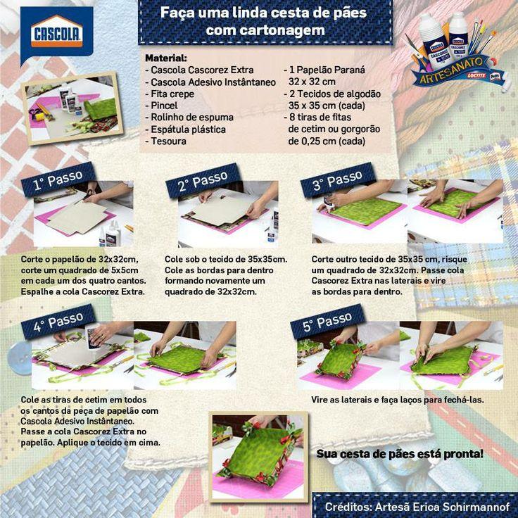 Pap cesta para pães em Cartonagem com tecidos Circulo