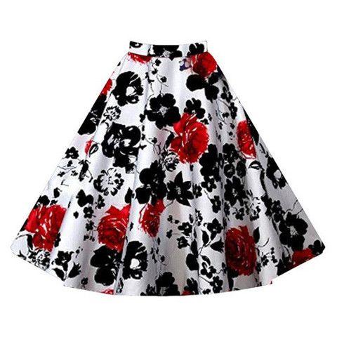 Red Floral Vintage Midi Skirt