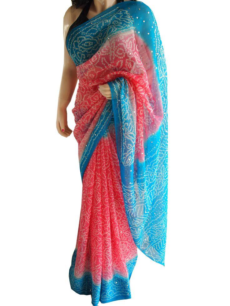Pink & Blue Pure Chiffon Bandhani Saree With Mukaish Work
