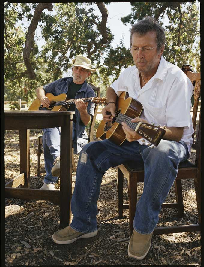 """Eric Clapton and JJ Cale at Cale's home in Valley Center, California, working on """"The Road to Escondido"""""""