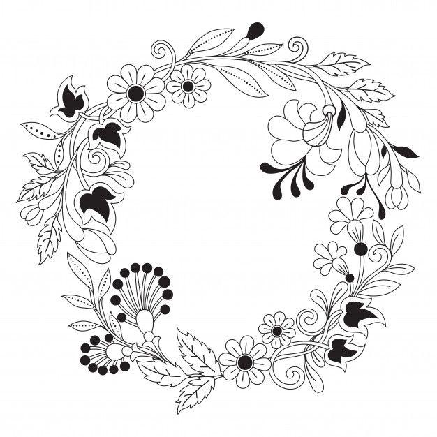 Mano Dibujada Ilustracion De Corona De Flores En Estilo Zentangle Vector Premium Ilustracion De Corona Ilustracion De Flor Patrones De Bordados De Epoca