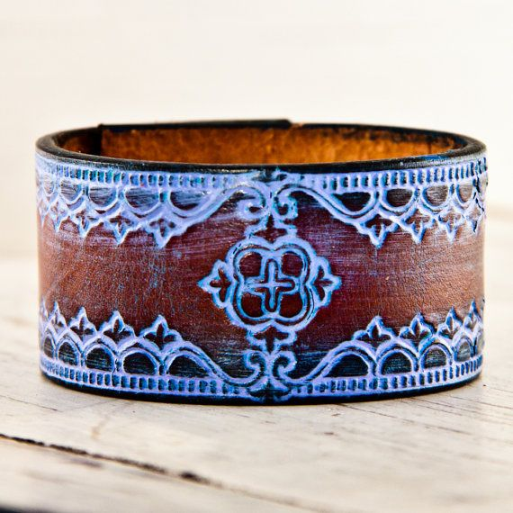 Tooled Leather Pastel Colors Vintage Handmade OOAK by rainwheel, $35.00