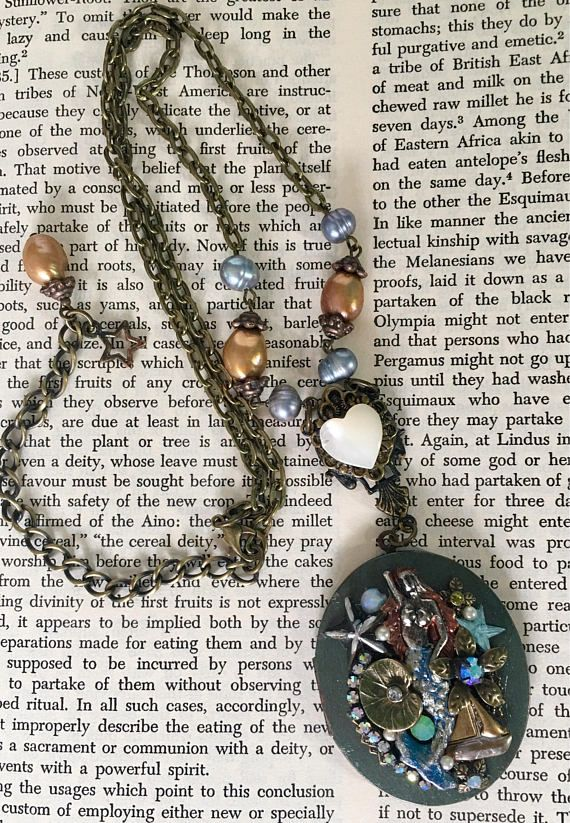 Hand Painted Mermaid Vintage Assemblage Locket with Opal and