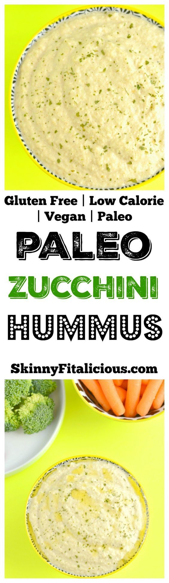 This Paleo Zucchini Hummus is flavorful, light and refreshing! Perfect to bring to a summer BBQ or to munch on all summer long. Paleo + Vegan + Gluten Free + Low Calorie