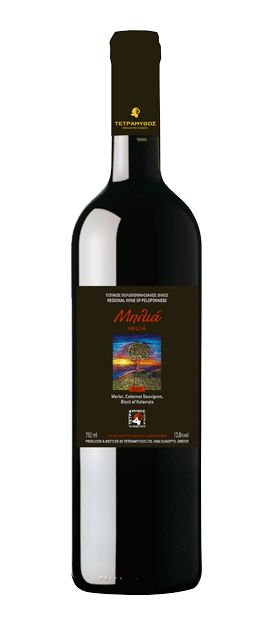 Milia Red  Origin - Type: Protected Geographical Indication Peloponesse - Dry Red Wine  Wine  Grape Variety: Merlot, Cabernet Sauvignon and Black of Kalavryta. The wine is certified organic - Our price, DKK 129 (incl. moms)