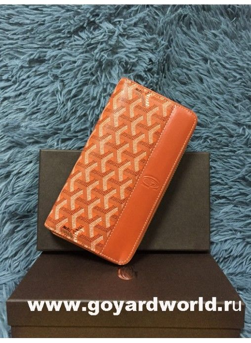 Goyard Matignon Zip Around Long Wallet Orange