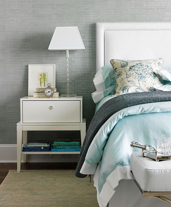 grey, blue and white bedroom  2011 Hampton Designer Showhouse: Second Floor - Traditional Home