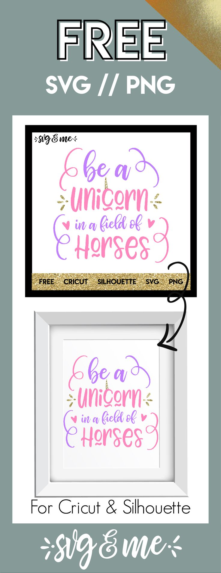 FREE SVG CUT FILE for Cricut, Silhouette and more - Be a Unicorn in a Field of Horses SVG #diy #cricut #silhouette #unicorn