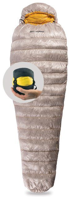 Sea to Summit Spark SpI Courtesy Sea to Summit For summer camping trips, the Spark SpI sleeping bag is the warmest for its weight. Filled with 850-loft mature down, it's rated for temps as low as 46 degrees, and at 12.3 ounces, it packs to the size of a grapefruit.