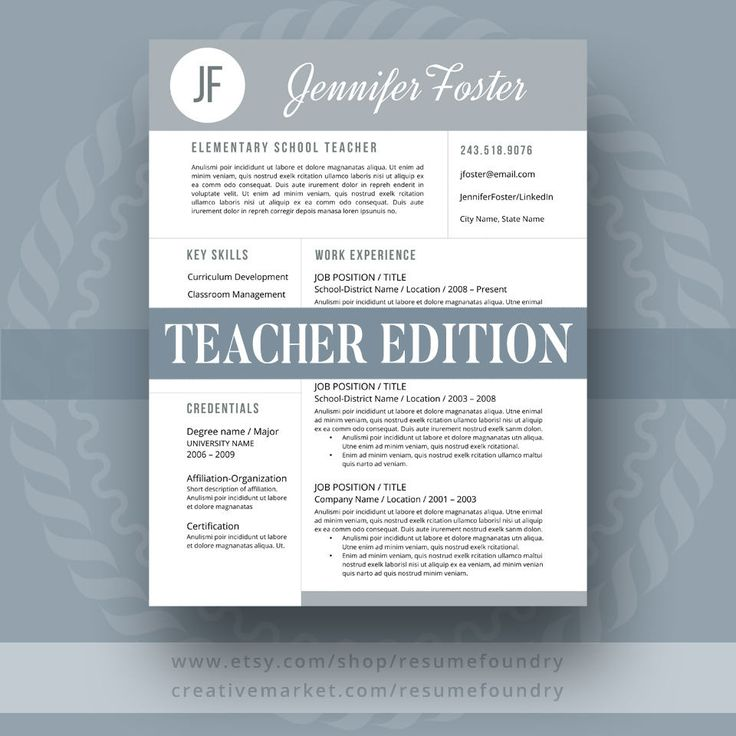 64 best Teacher Resume Templates images on Pinterest Interview - teacher resume