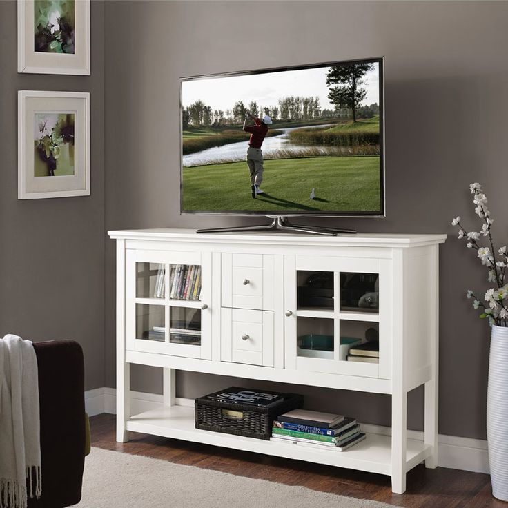 View a larger image of the Walker Edison 55 inch Highboy Table TV Stand (White) W52C4CTWH.