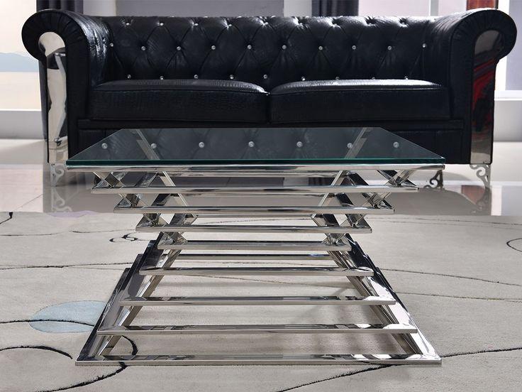 i rustfritt og polert stål med 1 cm tykk bordplate i herdet klart glass.Art nr: CO0200Serie: SliverlineDimensjoner (cm): Bredde: 70, Dybde: 70, Høyde:40Materiale: Vi benytter rustfritt stål grad 202 i denne modellen.