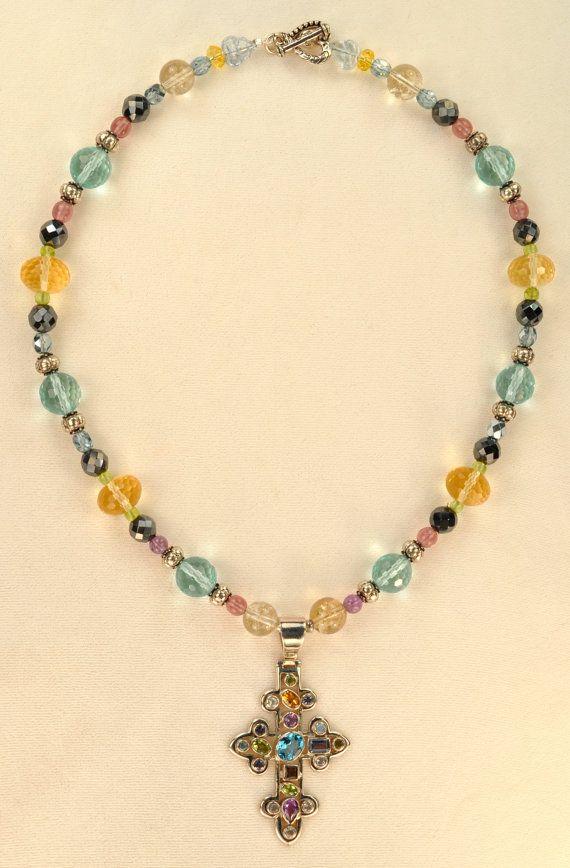 The Multi Gem Cross Necklace by lovebeadsbyjp on Etsy, $145.00
