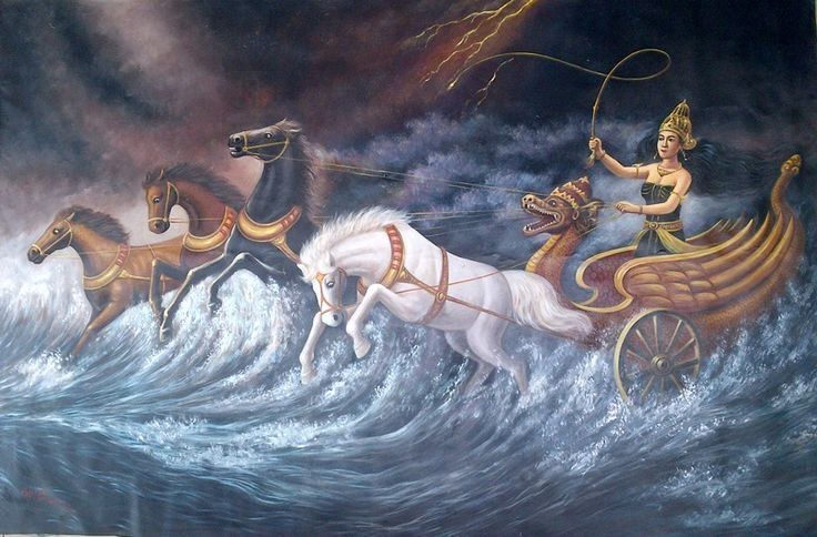 For sale | Queen of south sea / Ratu Kidul, oil on canvas, 130 x 200 cm
