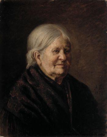 """Albert Edelfelt: """"Portrait of Fredrika Snygg"""" 1872 (Tajta, the artist's old maid servant)"""